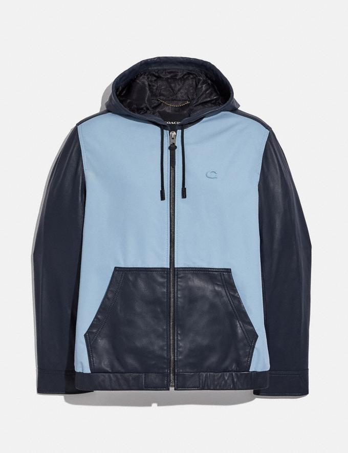 Coach Pieced Leather Hoodie Mist Deep Navy Translations 6.1-Otheroutlet