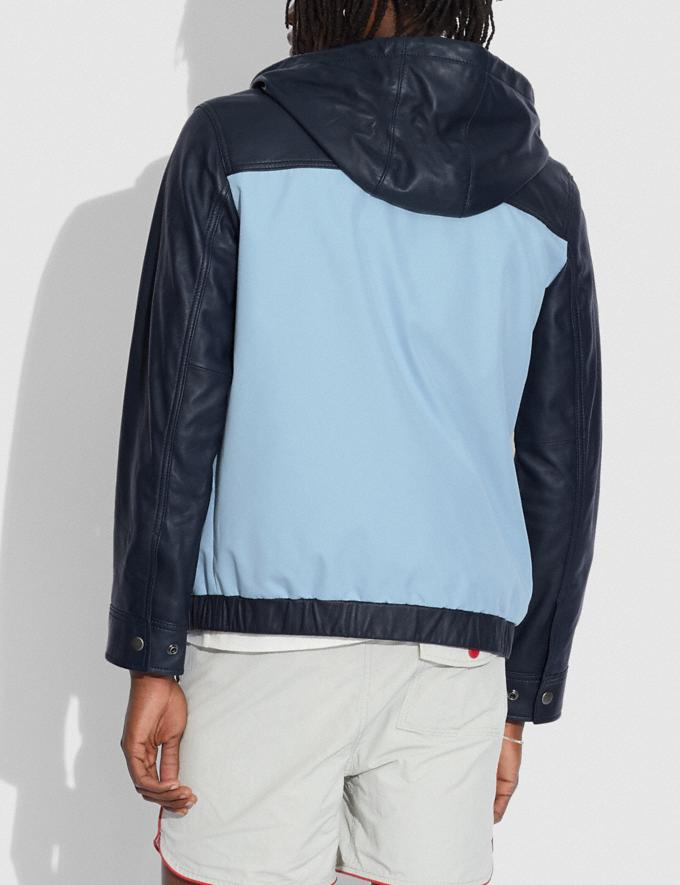 Coach Pieced Leather Hoodie Mist Deep Navy Translations 6.1-Otheroutlet Alternate View 2