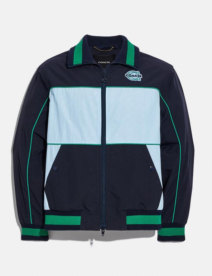 Coach Colorblock Mashup Windbreaker in Recycled Nylon Navy White Translations 6.1-Otheroutlet