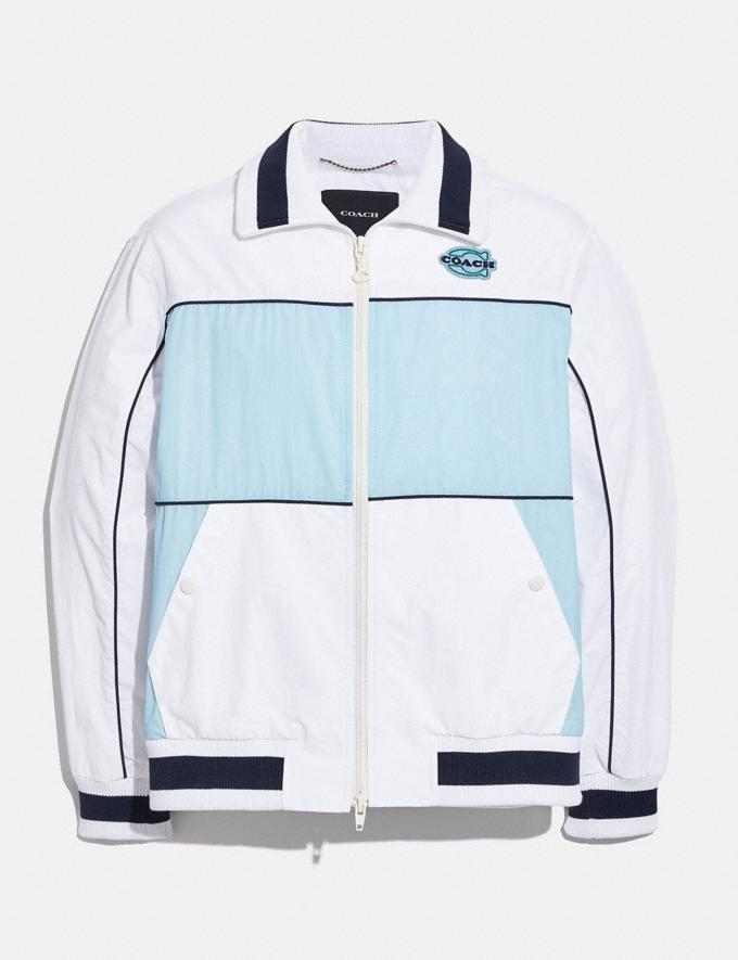 Coach Colorblock Mashup Windbreaker in Recycled Nylon White Translations 6.1-Otheroutlet