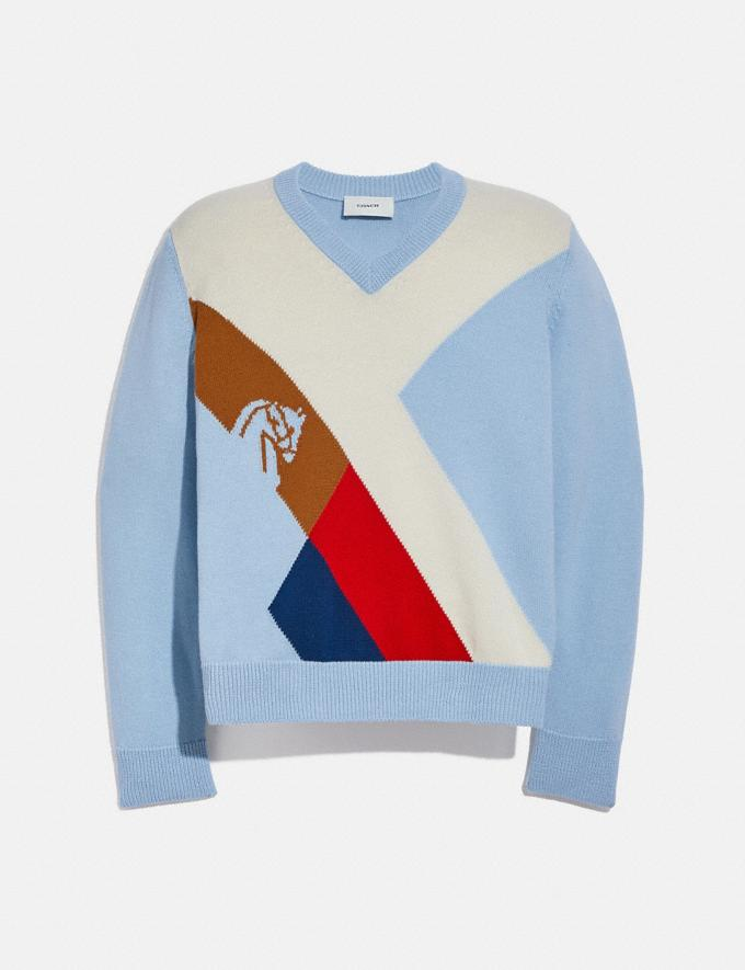 Coach Horse Argyle Sweater Pale Blue Translations 5.1 Retail