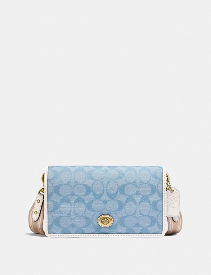 Coach Hayden Foldover Crossbody Clutch in Signature Chambray B4/Light Washed Denim Chalk null