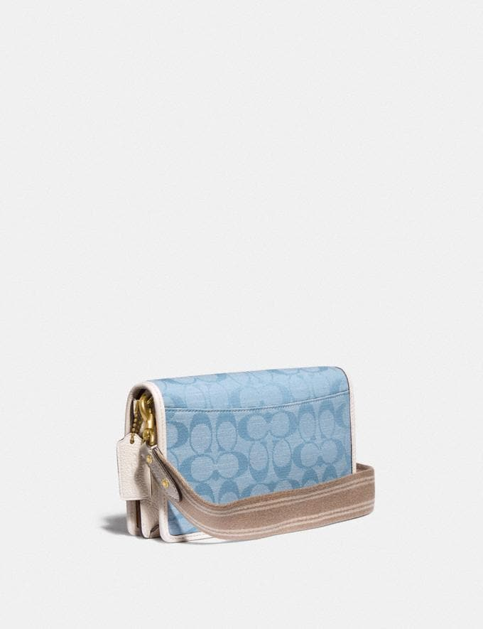 Coach Hayden Foldover Crossbody Clutch in Signature Chambray B4/Light Washed Denim Chalk null Alternate View 1
