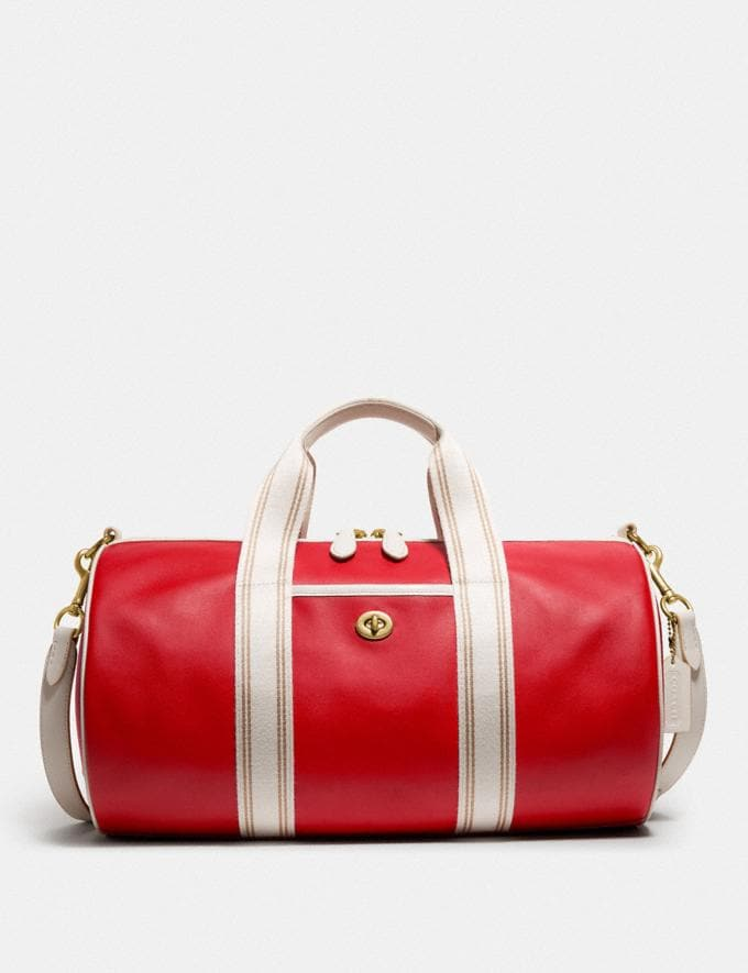 Coach Duffle Brass/Electric Red Chalk New Men's New Arrivals Bags
