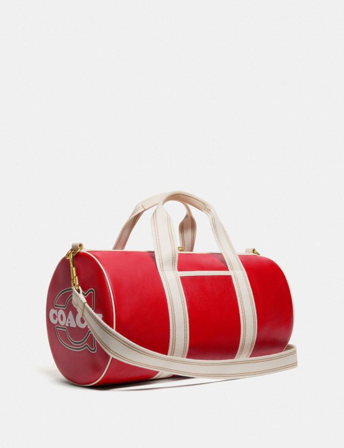 Coach Duffle Brass/Electric Red Chalk New Men's New Arrivals Bags Alternate View 1