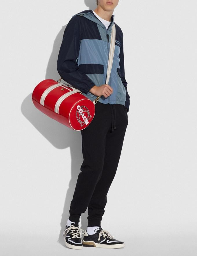 Coach Duffle Brass/Electric Red Chalk New Men's New Arrivals Bags Alternate View 3