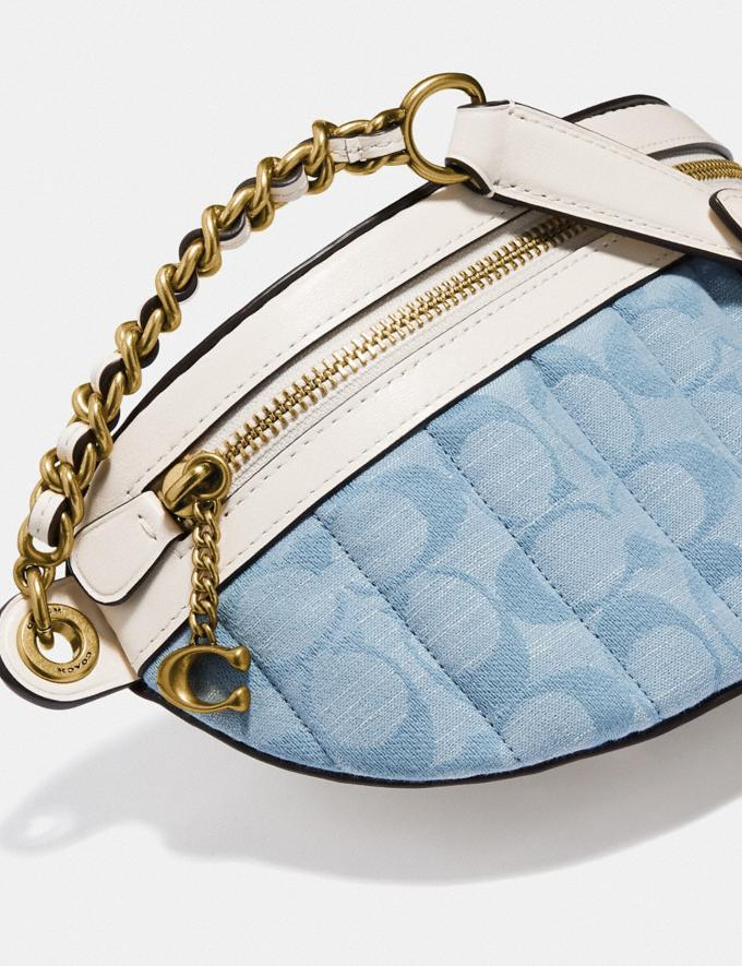 Coach Chain Belt Bag in Signature Chambray With Quilting Brass/Light Washed Denim Chalk null Alternate View 4