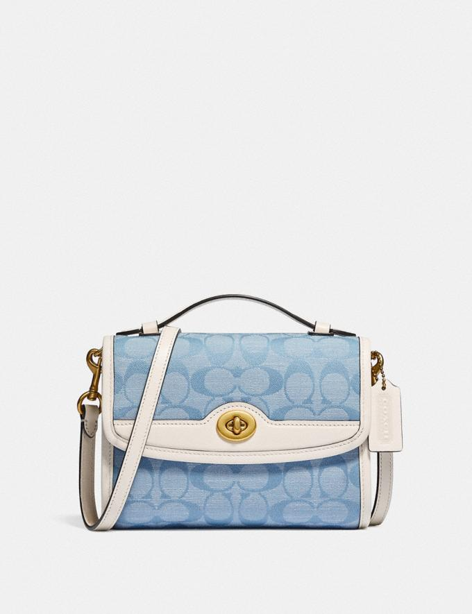 Coach Kip Turnlock Crossbody in Signature Chambray B4/Light Washed Denim Chalk null