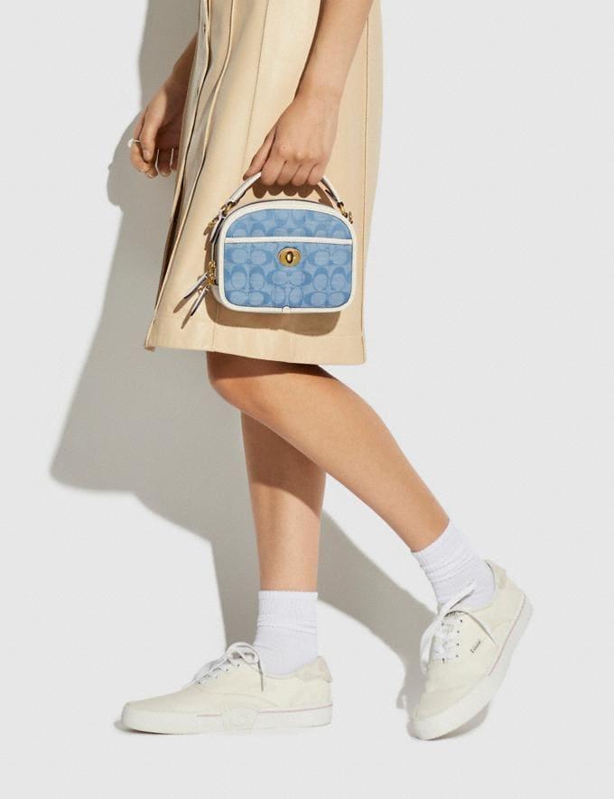 Coach Lunchbox Tasche Mit Griff Aus Charakteristischem Chambray Und SteppnÄHten B4/Kreide Denim Leichte Waschung Neu Neuheiten für Damen Taschen Alternative Ansicht 4