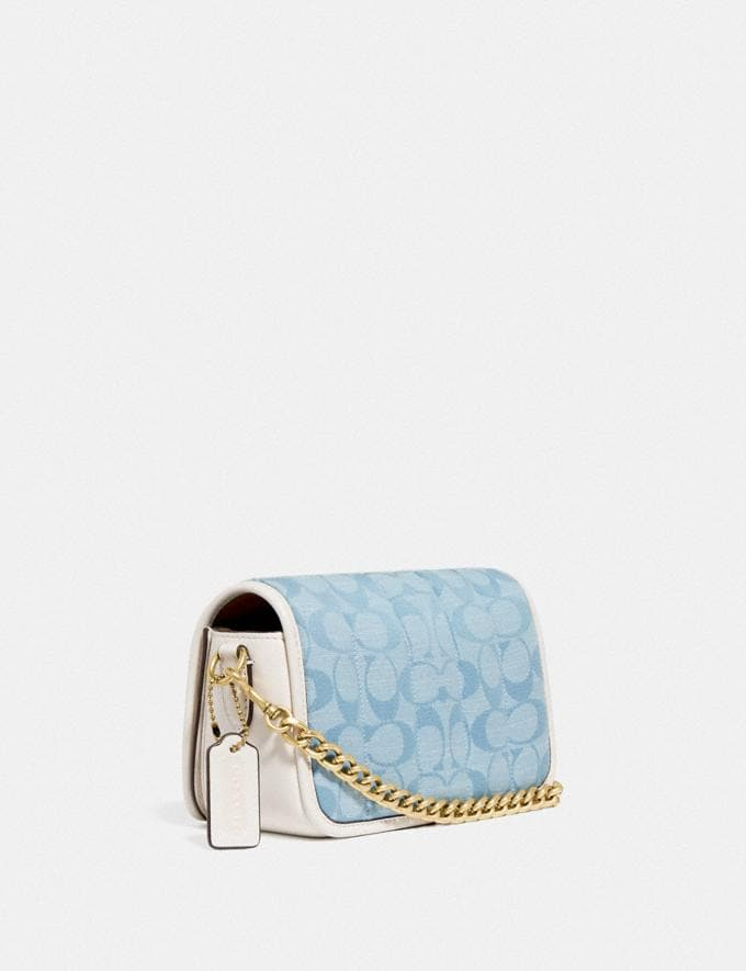 Coach Dinky 18 in Signature Chambray With Quilting B4/Light Washed Denim Chalk New Women's New Arrivals Bags Alternate View 1