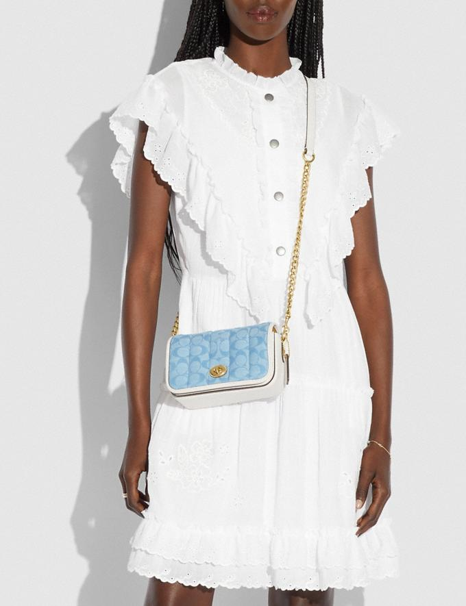 Coach Dinky 18 in Signature Chambray With Quilting B4/Light Washed Denim Chalk New Women's New Arrivals Bags Alternate View 3