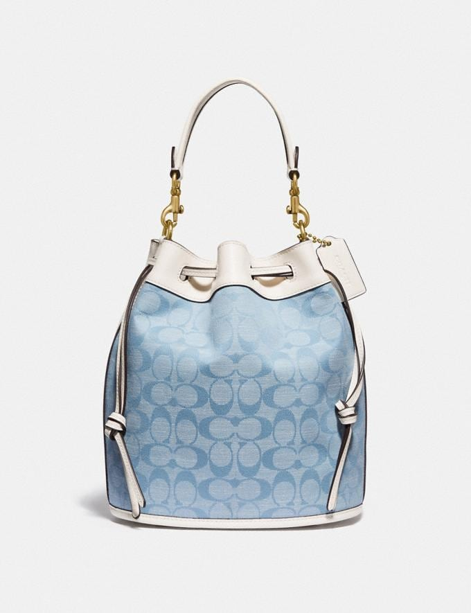 Coach Field Bucket Bag in Signature Chambray B4/Light Washed Denim Chalk New Women's New Arrivals Bags