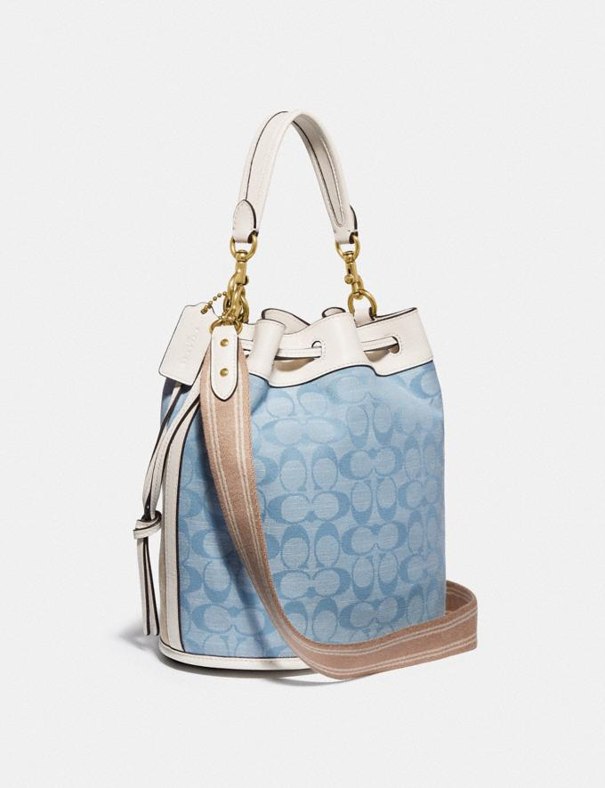 Coach Field Bucket Bag in Signature Chambray B4/Light Washed Denim Chalk New Women's New Arrivals Bags Alternate View 1