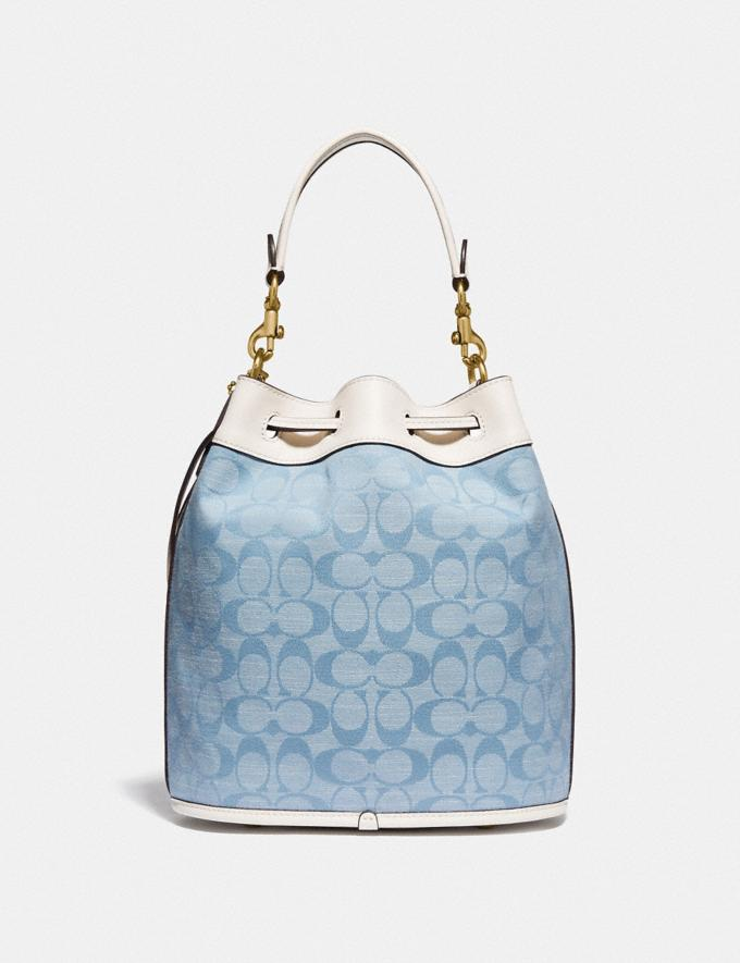 Coach Field Bucket Bag in Signature Chambray B4/Light Washed Denim Chalk New Women's New Arrivals Bags Alternate View 2