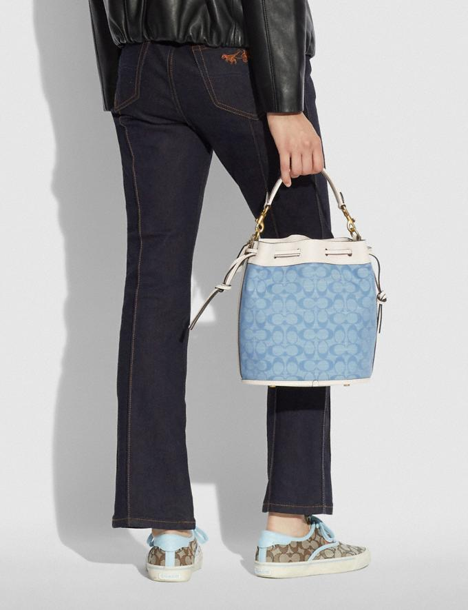 Coach Field Bucket Bag in Signature Chambray B4/Light Washed Denim Chalk New Women's New Arrivals Bags Alternate View 4