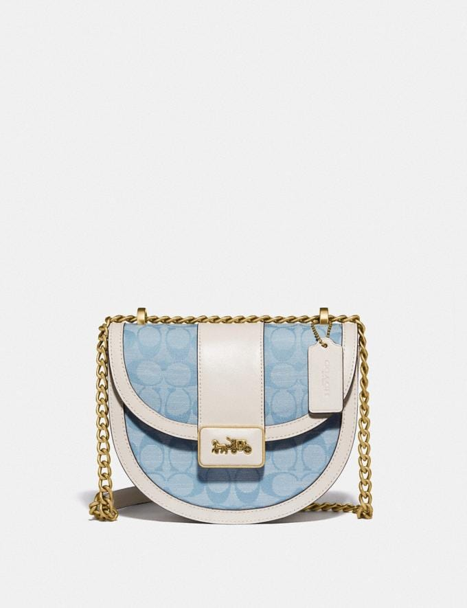 Coach Alie Saddle Bag in Signature Chambray B4/Light Washed Denim Chalk null