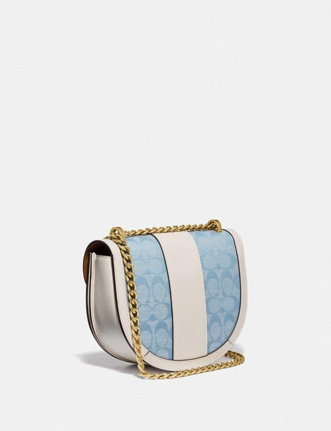 Coach Alie Saddle Bag in Signature Chambray B4/Light Washed Denim Chalk null Alternate View 1