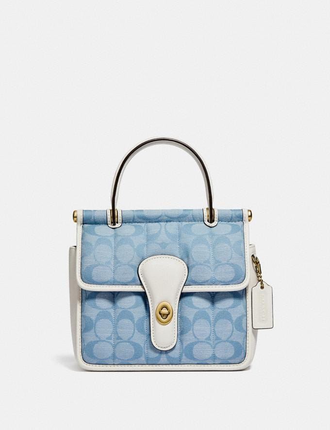 Coach Willis Top Handle 18 in Signature Chambray With Quilting B4/Light Washed Denim Chalk New Women's New Arrivals Bags