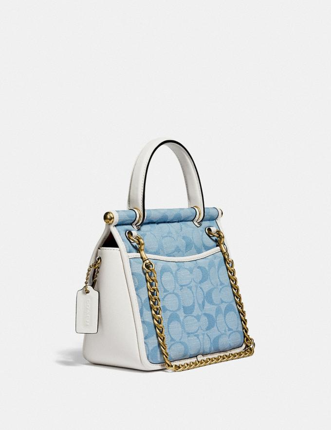 Coach Willis Top Handle 18 in Signature Chambray With Quilting B4/Light Washed Denim Chalk New Women's New Arrivals Bags Alternate View 1