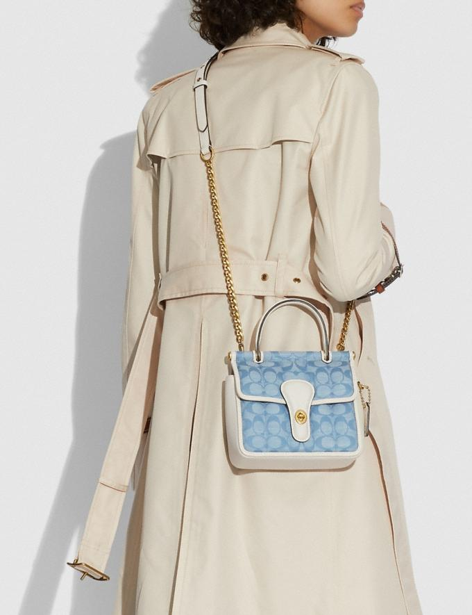 Coach Willis Top Handle 18 in Signature Chambray With Quilting B4/Light Washed Denim Chalk New Women's New Arrivals Bags Alternate View 3