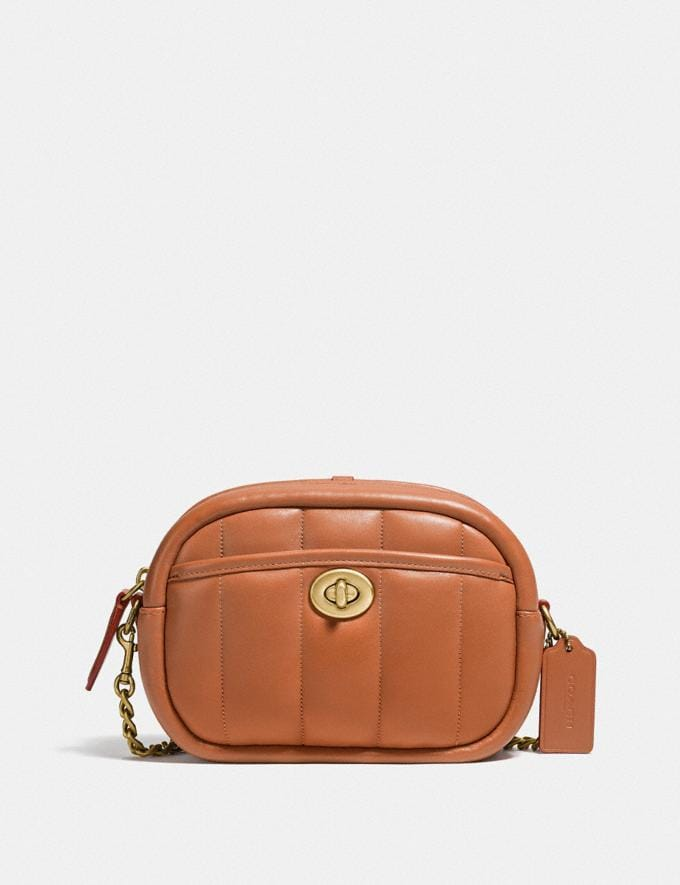 Coach Small Camera Bag With Quilting B4/Canyon New Women's New Arrivals Bags