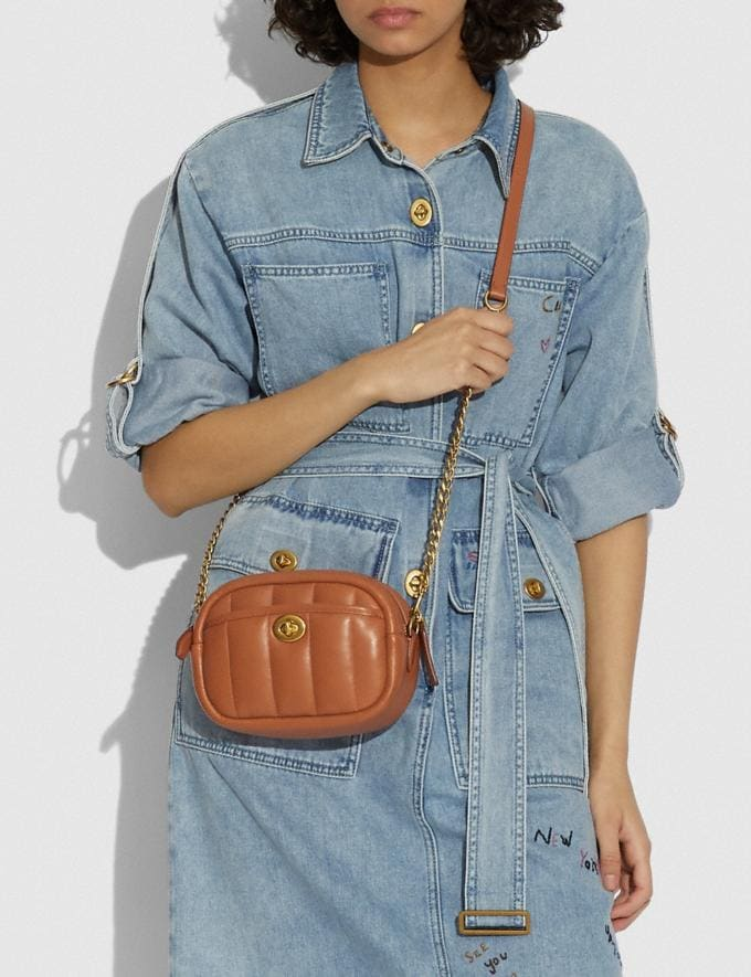 Coach Small Camera Bag With Quilting B4/Canyon New Women's New Arrivals Bags Alternate View 3