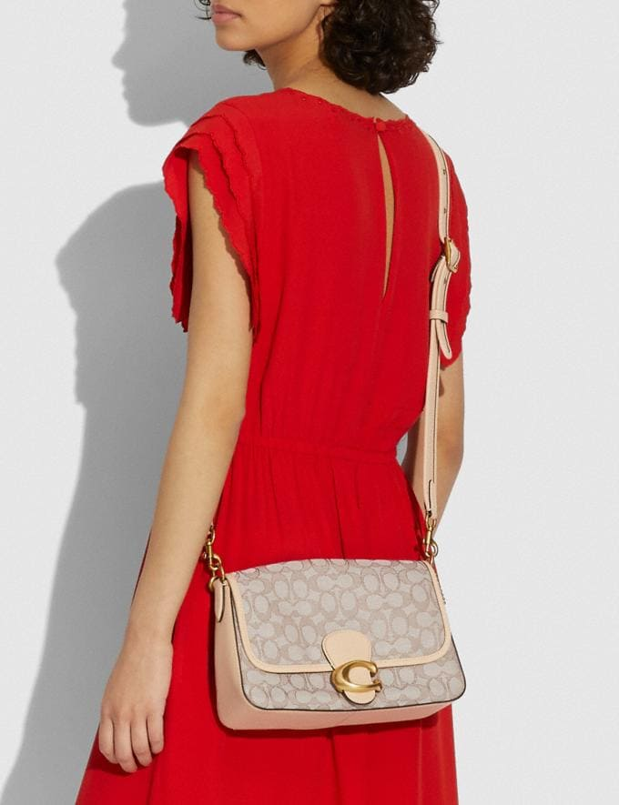 Coach Soft Tabby Shoulder Bag in Signature Jacquard B4/Stone Ivory New Women's New Arrivals Bags Alternate View 3