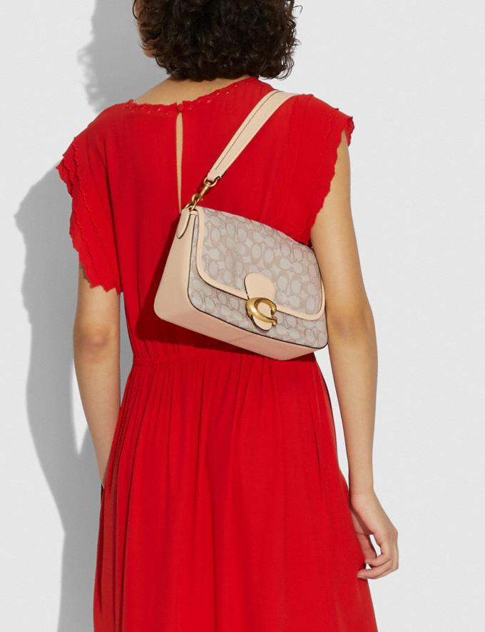 Coach Soft Tabby Shoulder Bag in Signature Jacquard B4/Stone Ivory New Women's New Arrivals Bags Alternate View 4