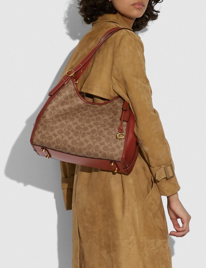 Coach Lori Shoulder Bag in Signature Canvas Brass/Tan Rust 8.1 newness Alternate View 4