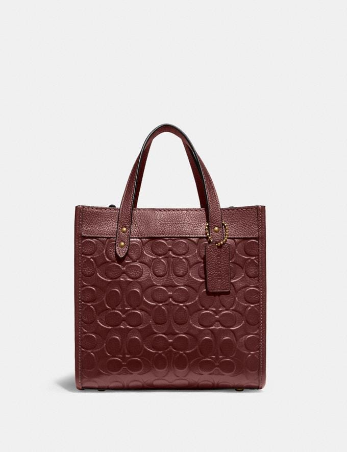 Coach Field Tote 22 in Signature Leather B4/Wine Translations 10.1 retail newness