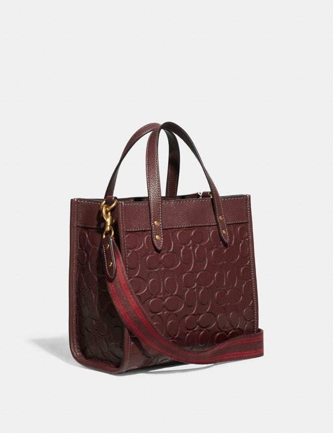 Coach Field Tote 22 in Signature Leather B4/Wine Translations 10.1 retail newness Alternate View 1