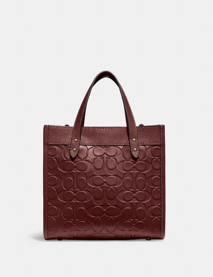 Coach Field Tote 22 in Signature Leather B4/Wine Translations 10.1 retail newness Alternate View 2