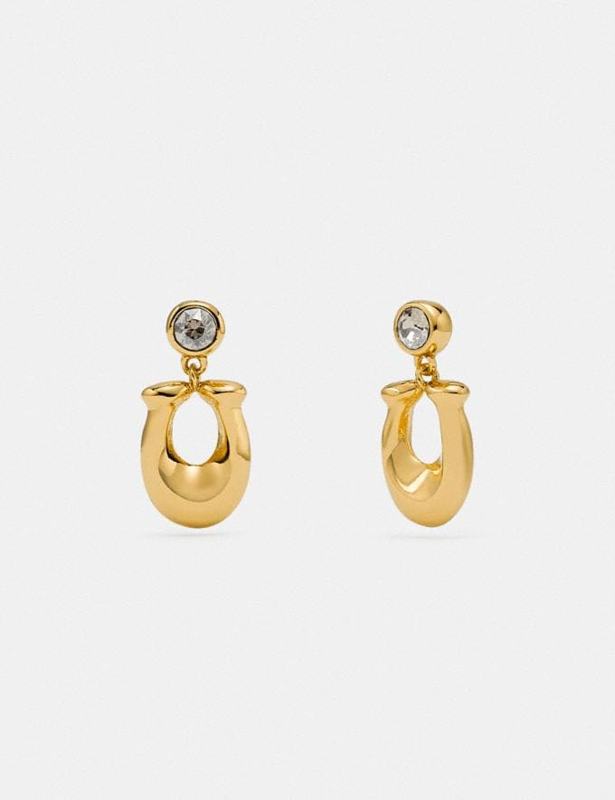 Coach Signature Crystal Earrings Gold/Clear