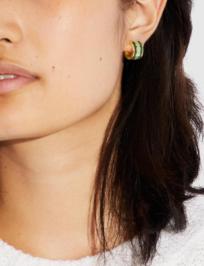 Coach Signature Hoop Earrings Gold/Blue Multicolor New Women's New Arrivals Accessories Alternate View 1