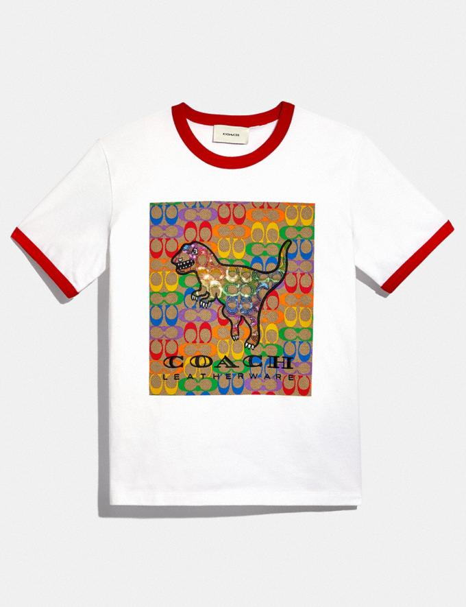 Coach Rainbow Signature Rexy T-Shirt in Organic Cotton Optic White DEFAULT_CATEGORY