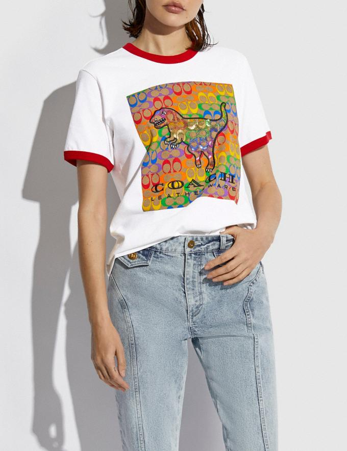 Coach Rainbow Signature Rexy T-Shirt in Organic Cotton Optic White DEFAULT_CATEGORY Alternate View 1