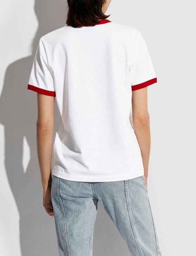 Coach Rainbow Signature Rexy T-Shirt in Organic Cotton Optic White DEFAULT_CATEGORY Alternate View 2