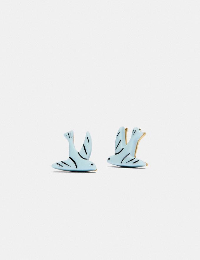 Coach Bird Stud Earrings Blue Translations 5.1 Retail