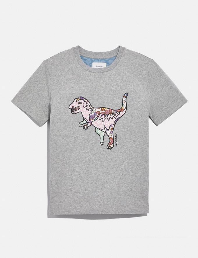 Coach Patchwork Rexy T-Shirt in Organic Cotton Grey Translations 5.1 Retail