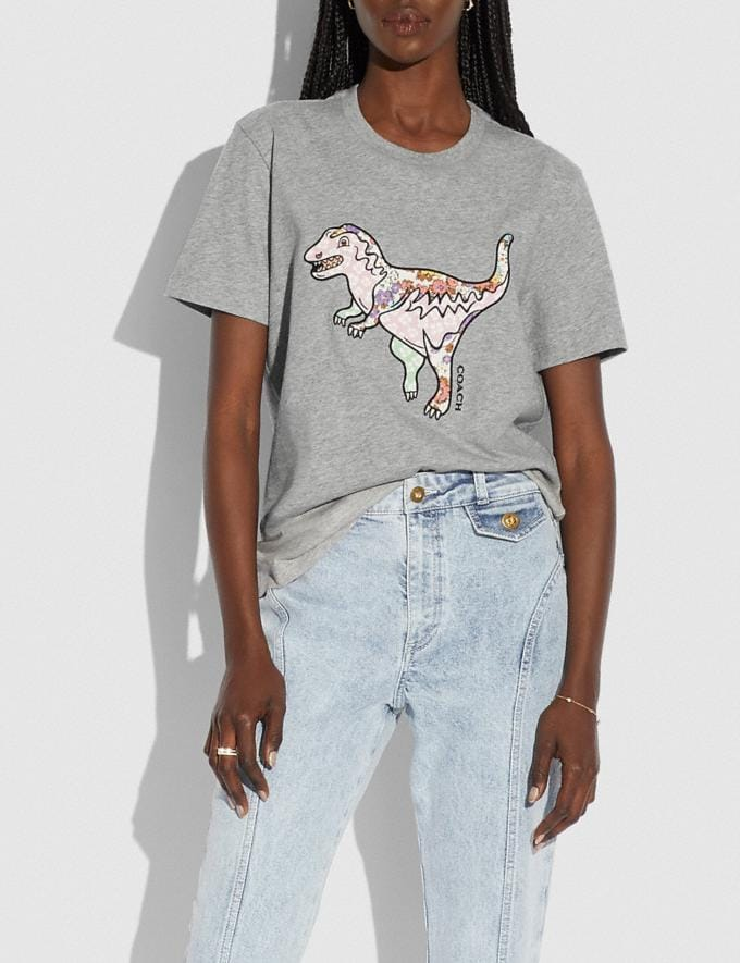 Coach Patchwork Rexy T-Shirt in Organic Cotton Grey Translations 5.1 Retail Alternate View 1