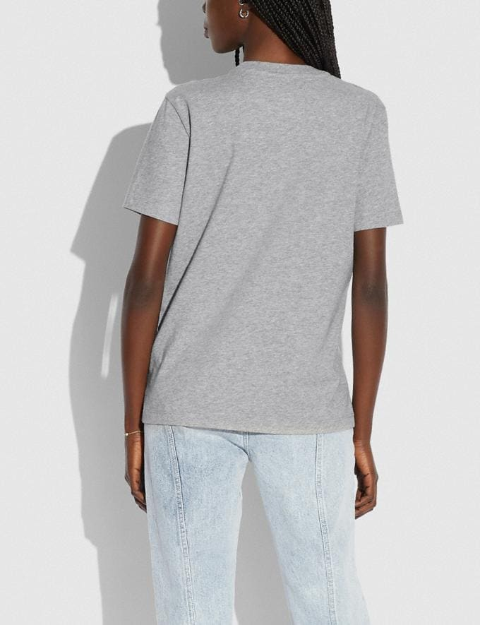 Coach Patchwork Rexy T-Shirt in Organic Cotton Grey Translations 5.1 Retail Alternate View 2