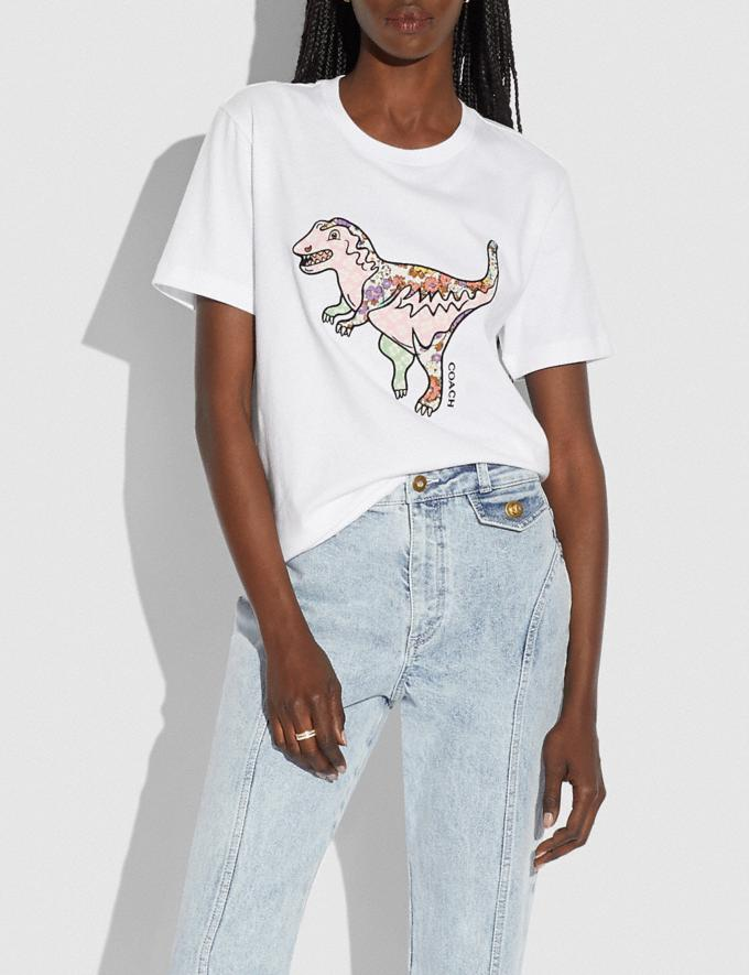 Coach Patchwork Rexy T-Shirt in Organic Cotton Optic White Translations 5.1 Retail Alternate View 1