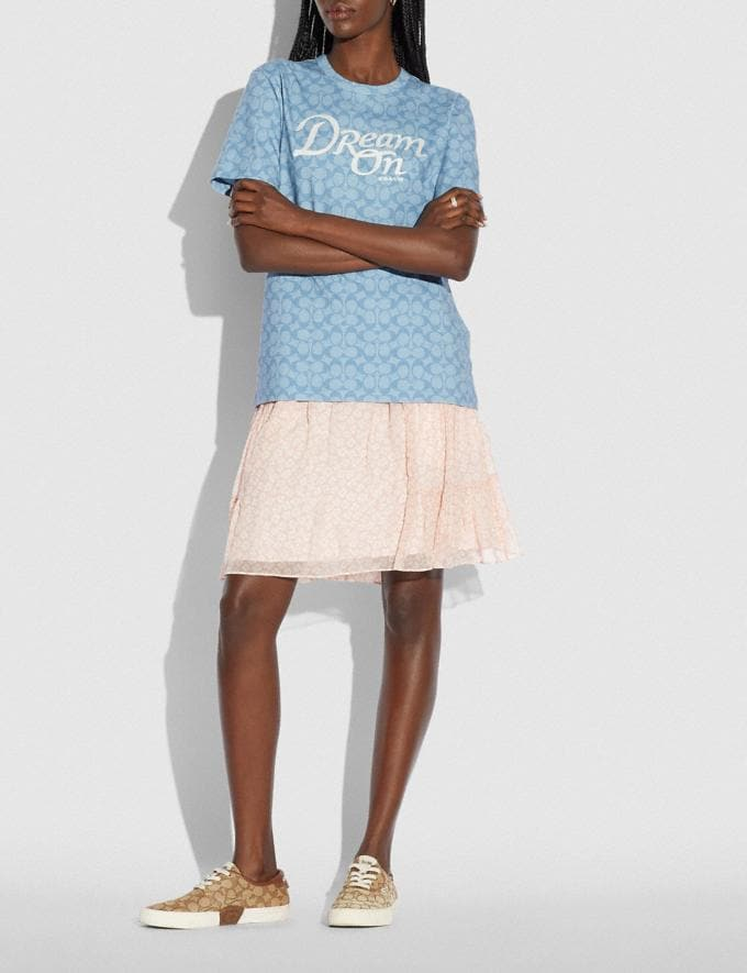 Coach Dream T-Shirt in Organic Cotton Light Chambray Translations 5.1 Retail Alternate View 1