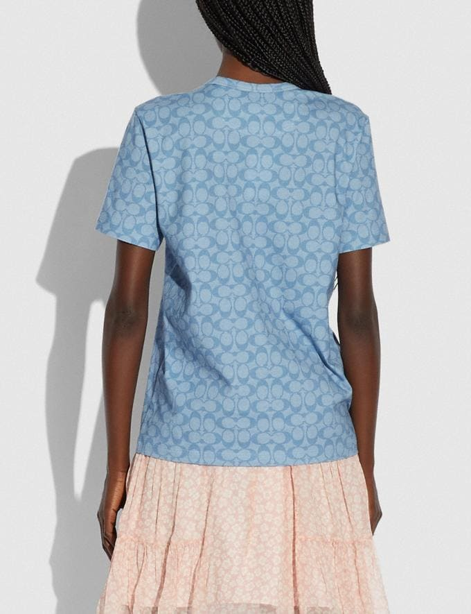 Coach Dream T-Shirt in Organic Cotton Light Chambray Translations 5.1 Retail Alternate View 2
