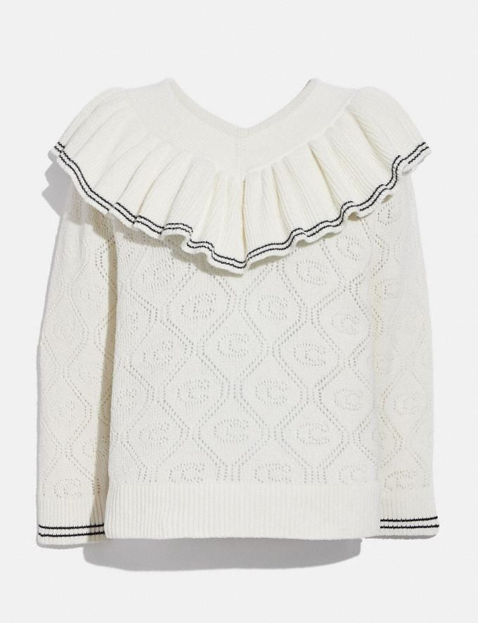 Coach Ruffled Collar Sweater Ivory Translations 5.1 Retail
