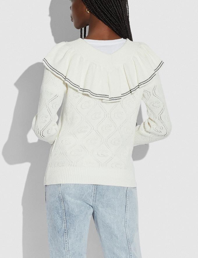 Coach Ruffled Collar Sweater Ivory Translations 5.1 Retail Alternate View 2