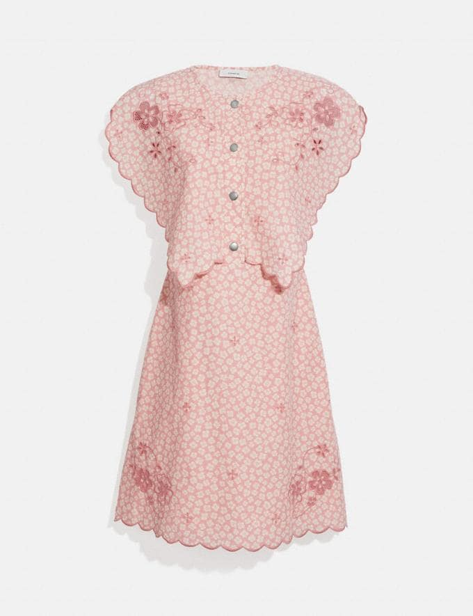 Coach Printed Short Broderie Anglaise Dress Pink/White null