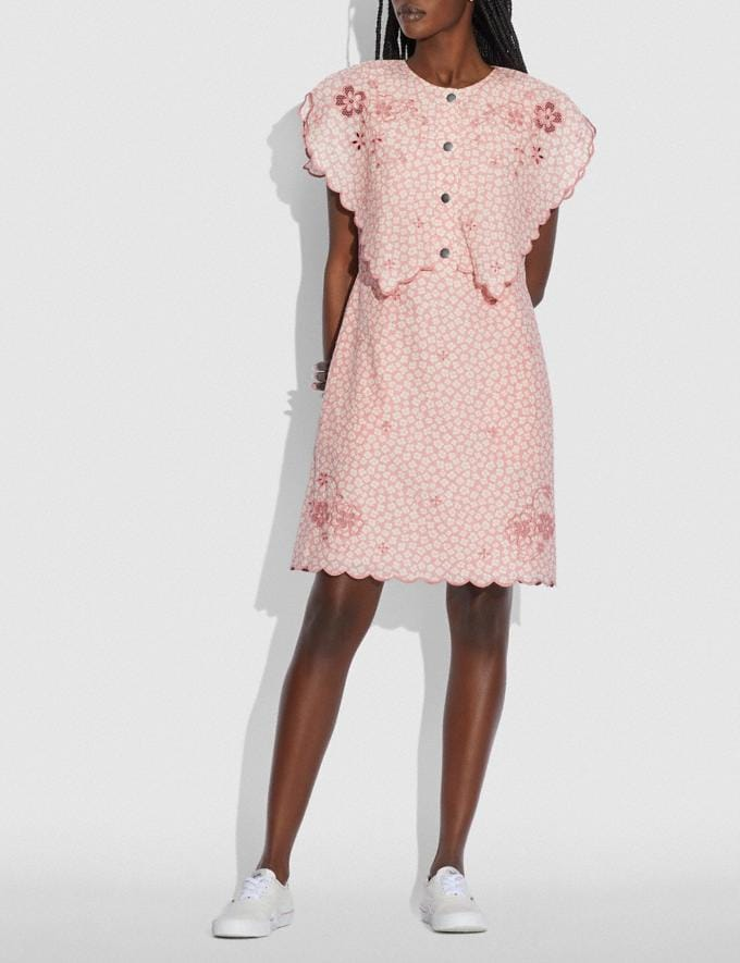 Coach Printed Short Broderie Anglaise Dress Pink/White null Alternate View 1