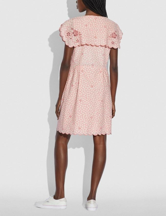 Coach Printed Short Broderie Anglaise Dress Pink/White null Alternate View 2