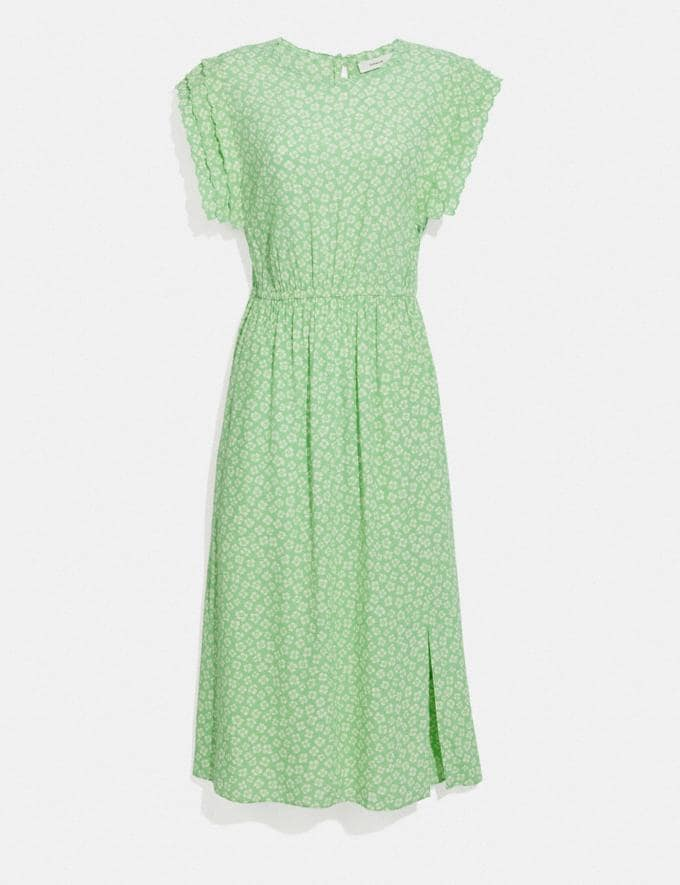Coach Graphic Ditsy Shoulder Pleat Midi Dress Green/White null